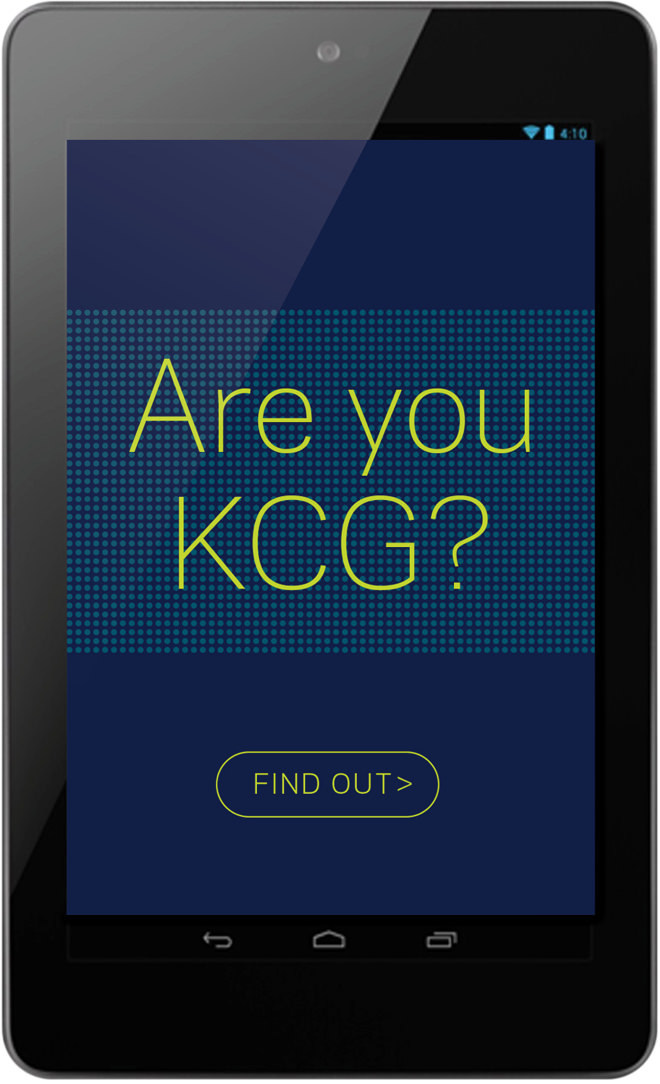 "Smartphone screen shot showing the features of the ""Are You KCG?"" recruiting app."