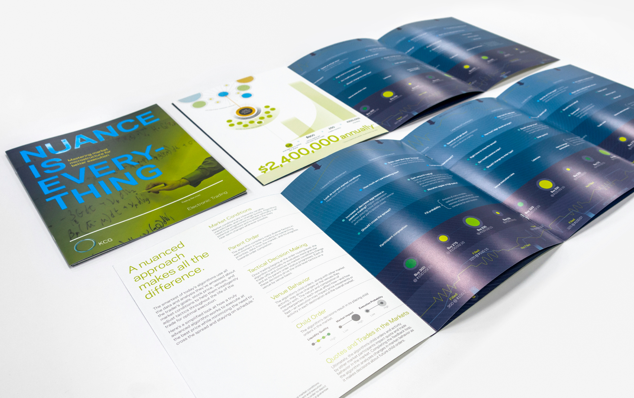 "Cover and multiple illustrated pages of a KCG capabilities brochure entitled ""Nuance is Everything"" laid out on a table."