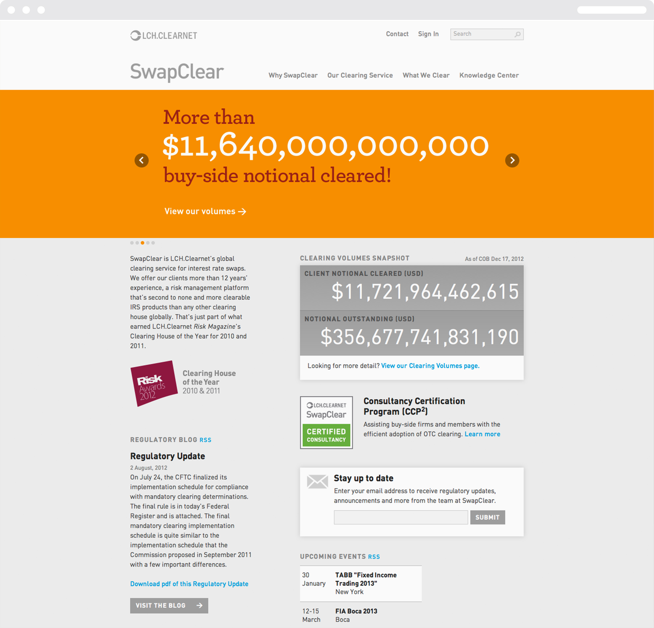 A Swapclear website page with the headline, More than 11,642 trillion dollars buy-side notional cleared.