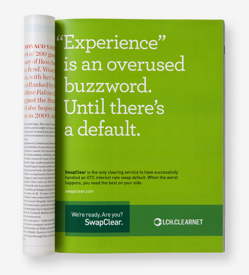 A Swapclear magazine ad with the text, Experience is an overused buzzword. Until there's a default.