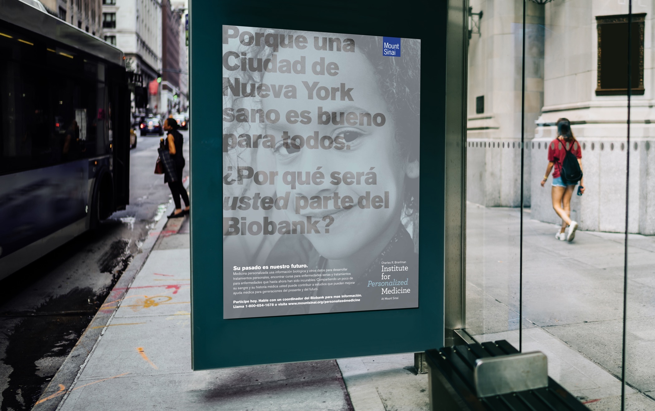 An large advertisement for the Mount Sinai Biobank on a bus shelter.