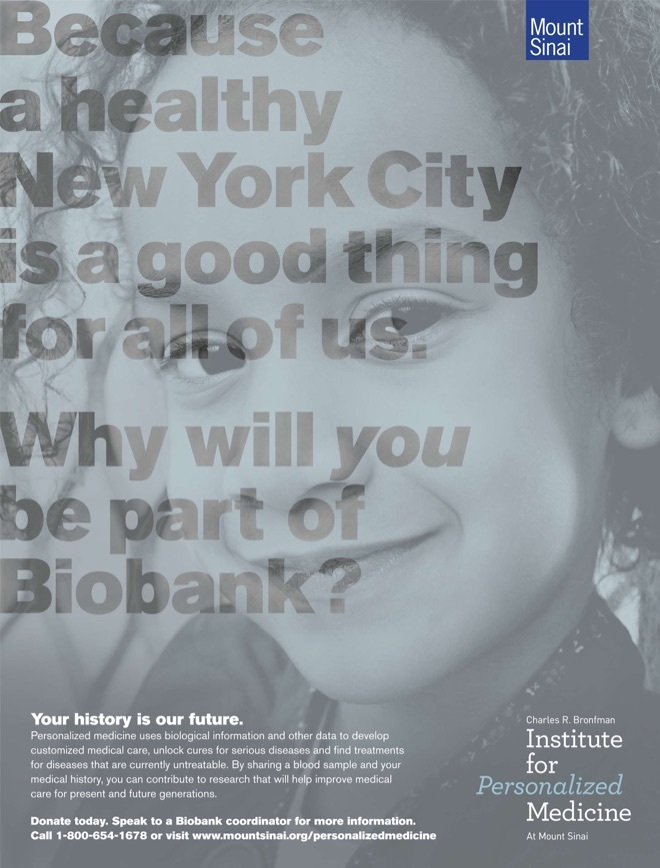 An Institute for Personalized Medicine poster with the text, Because a healthy New York CIty is a good thing for all of us.