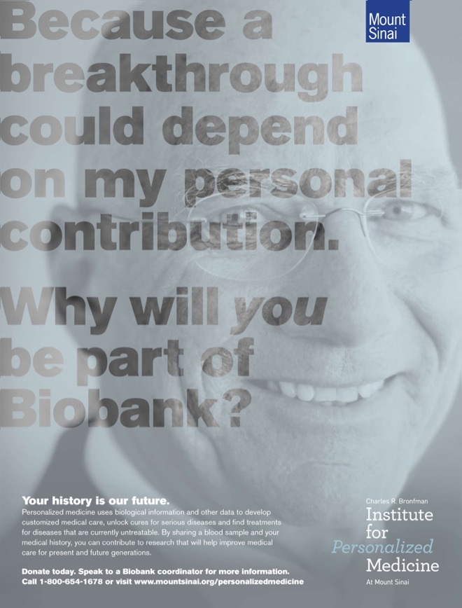 An Institute for Personalized Medicine poster with the text, Because a breakthrough could depend on my personal contribution.