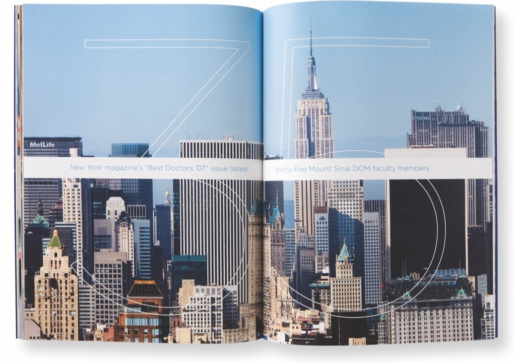 A daylight cityscape of Midtown Manhattan with the text, New York Magazine's best doctors 2007 listed 35 Mount Sinai Department of Medicine faculty members.