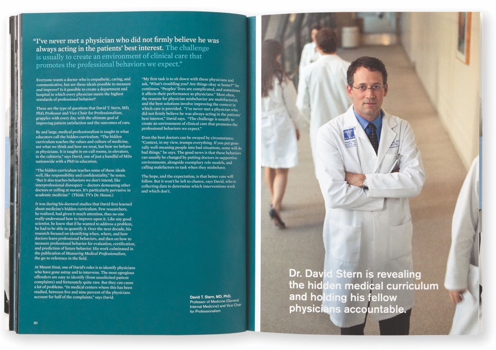 Pages from the Mount Sinai Department of Medicine 2009 Annual Report with a picture of Dr. David Stern and text of an interview with him.