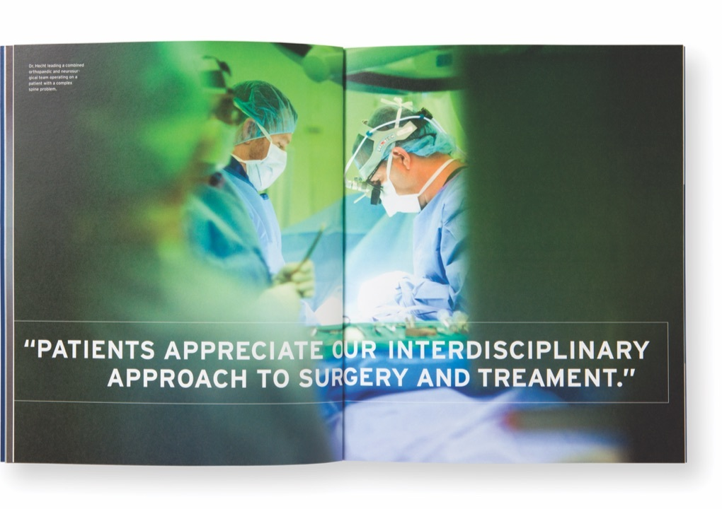Page from the Mount Sinai Orthopaedics Annual Report showing two doctors in an operation room and the text, Patients appreciate our interdisciplinary approach to surgery and treatment.