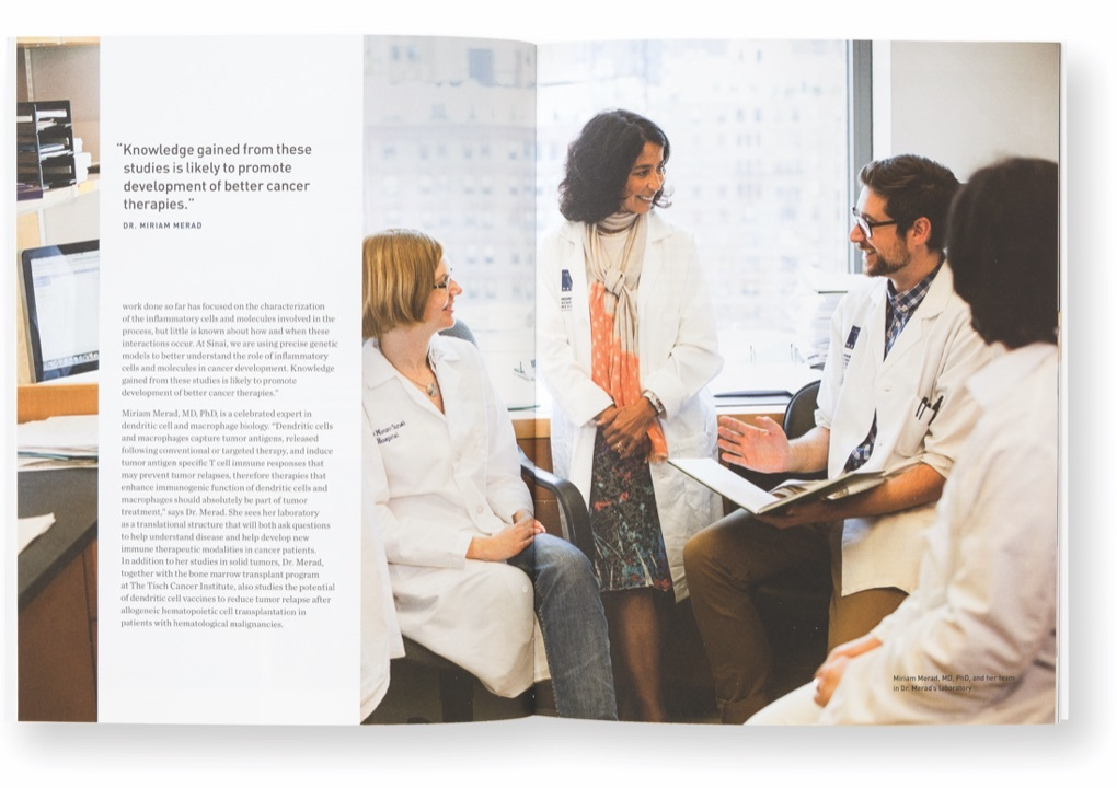 Pages from the Tisch Cancer Institute's 2011 Annual Report showing doctors in lab coat meet informally in a hospital office.