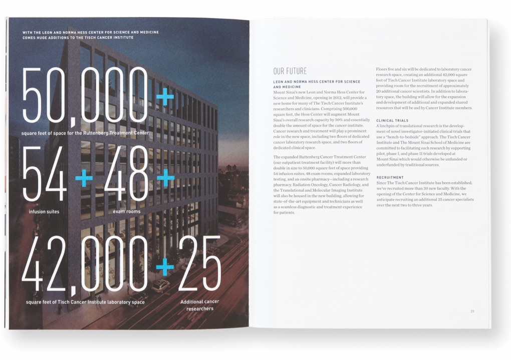 Pages from the Tisch Cancer Institute's 2011 Annual Report with an exterior picture of the offices and large numerical statistics about its programs.