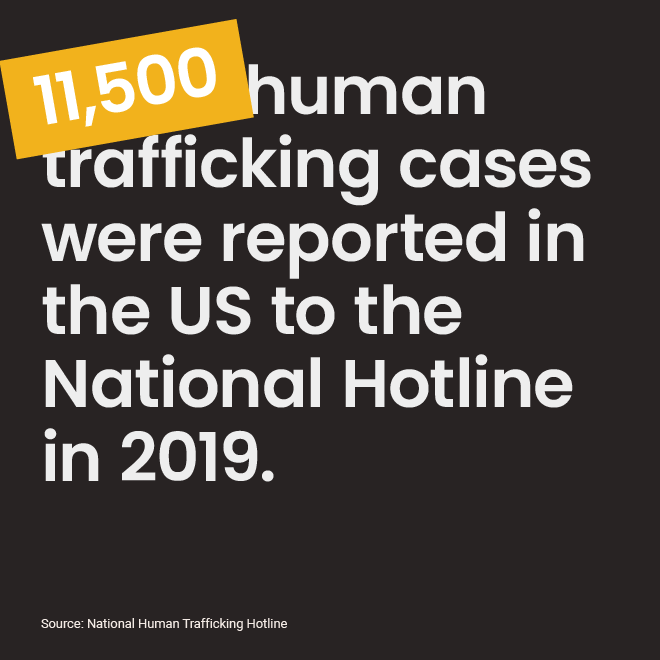 A social media asset citing stats from NJ Coalition Against Human Trafficking.