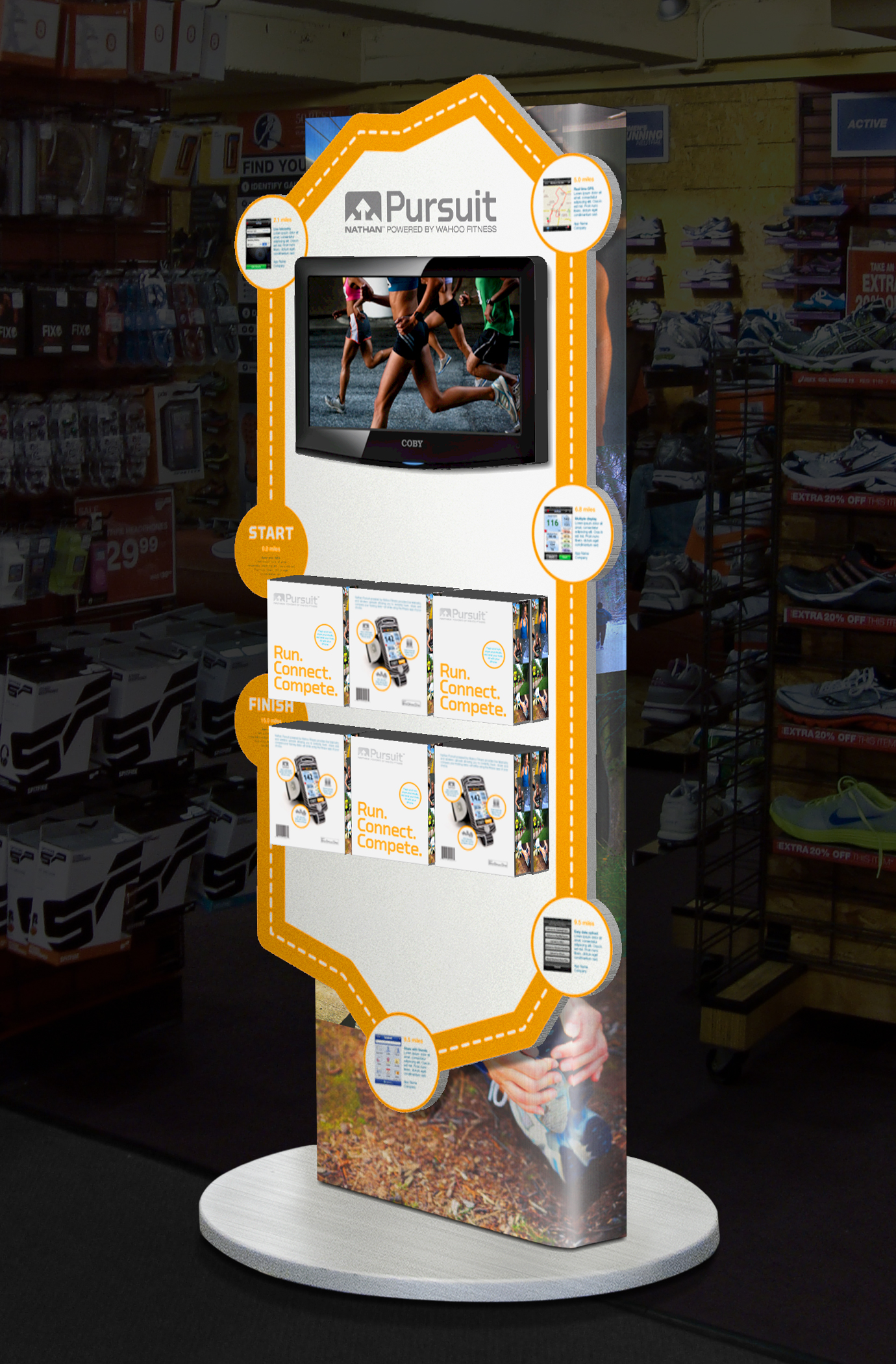 Nathan Sports Pursuit app point-of-sale promotional display.