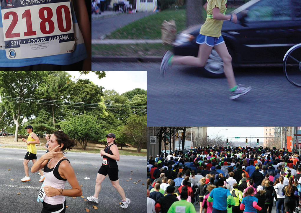 Collage of runners competing in road races.