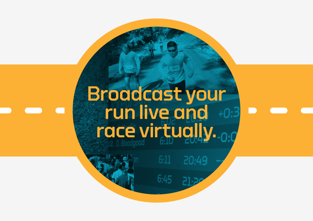 "Nathan Sports Pursuit app watch-shaped graphics, with the headline ""Broadcast your run live and race virtually."""
