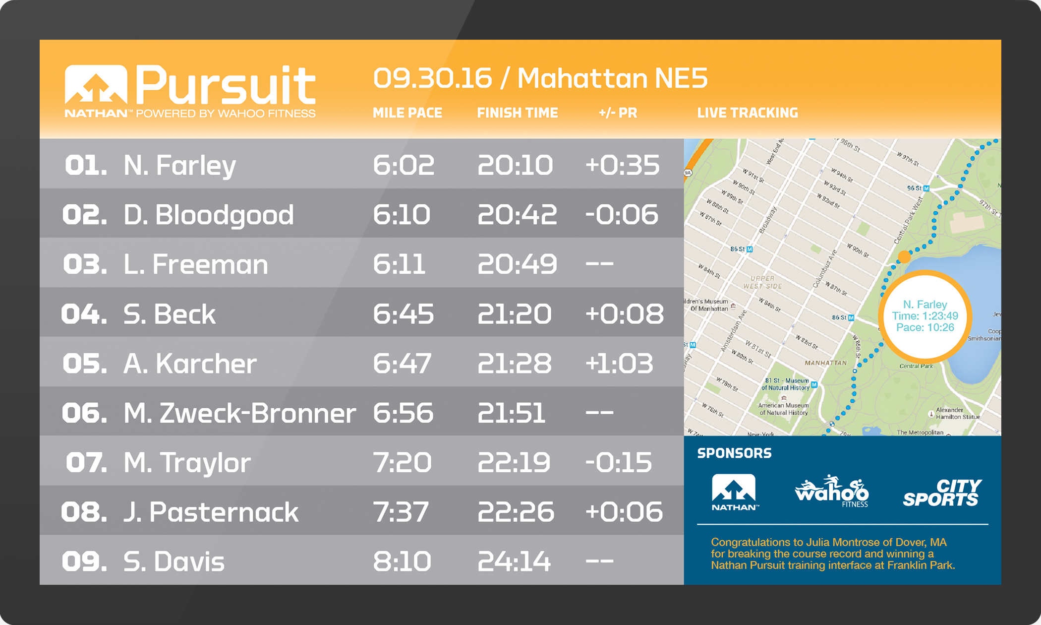 Screenshot of Nathan Sports Pursuit app interface showing a list of race times for multiple runners.
