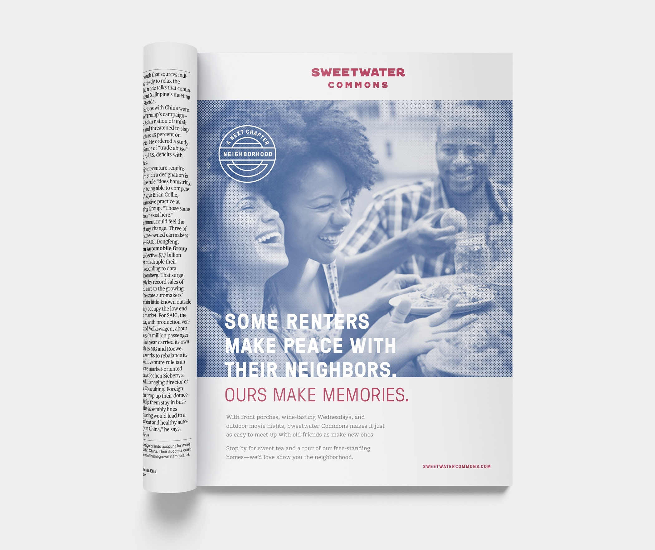 "A Sweetwater Commons magazine ad with the headline, ""Some renters make peace with their neighbors. Ours make memories."""