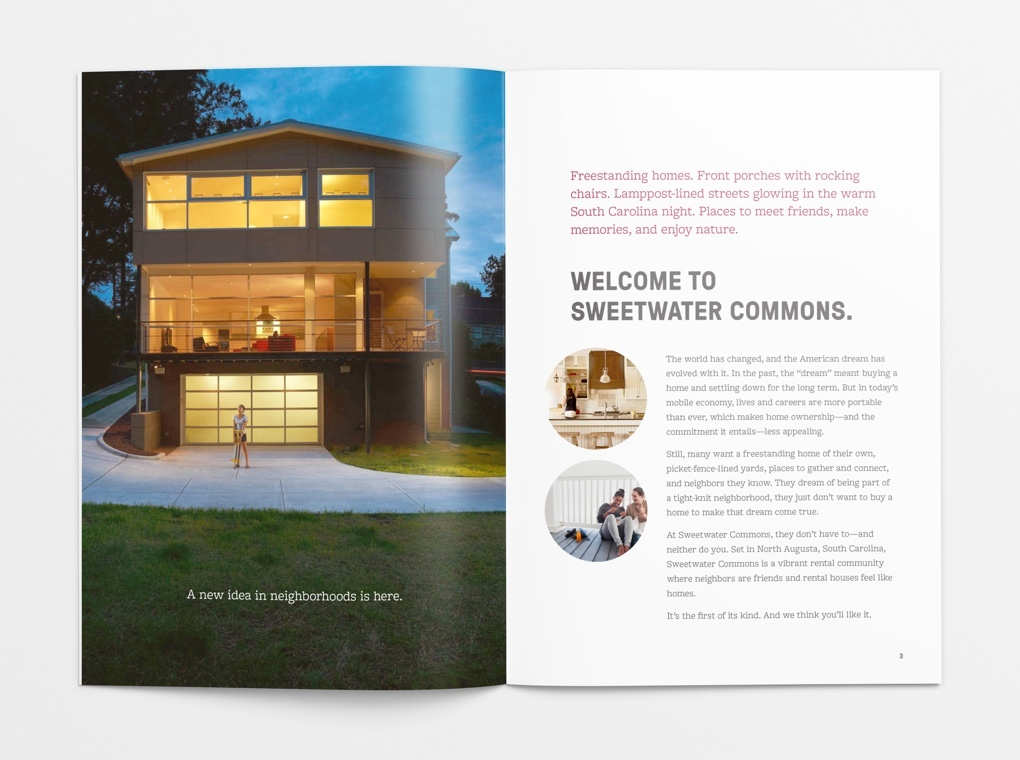 "Pages from the Sweetwater Commons brochure, with the headline text, ""Welcome to Sweetward Commons."""