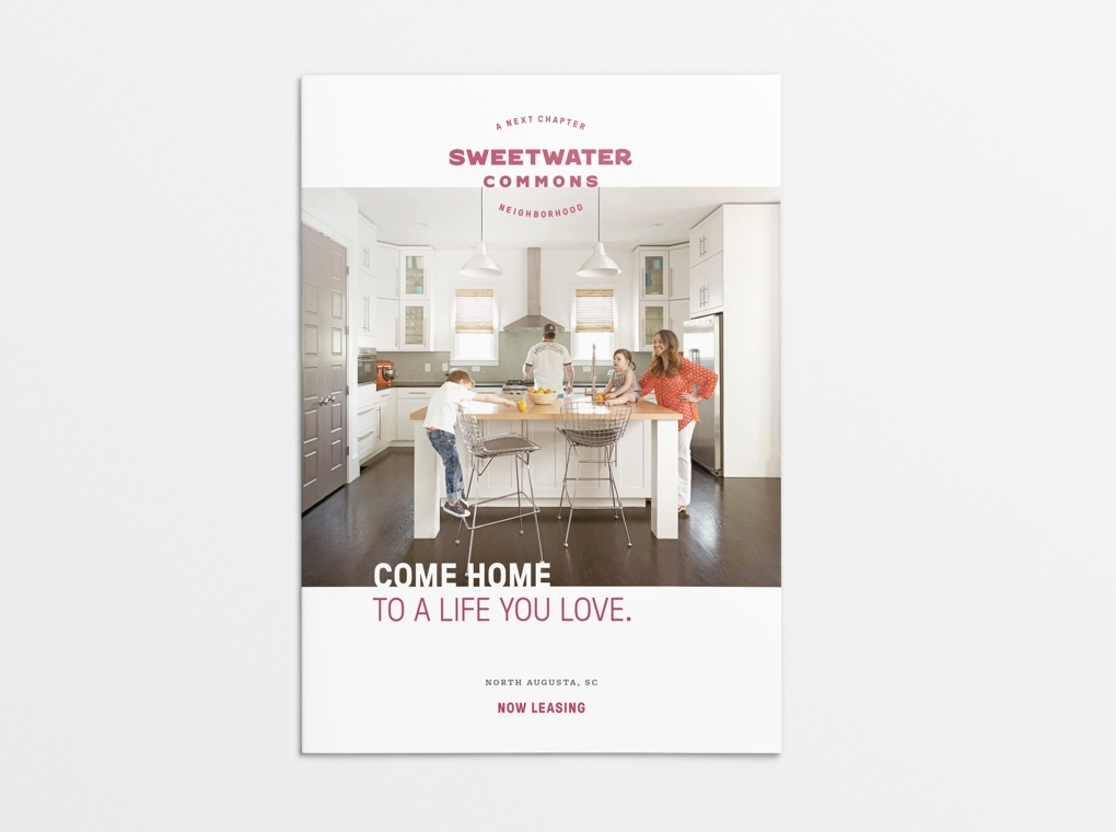 "Brochure cover for Sweetwater Commons, with the title ""Come home to a life you love."""
