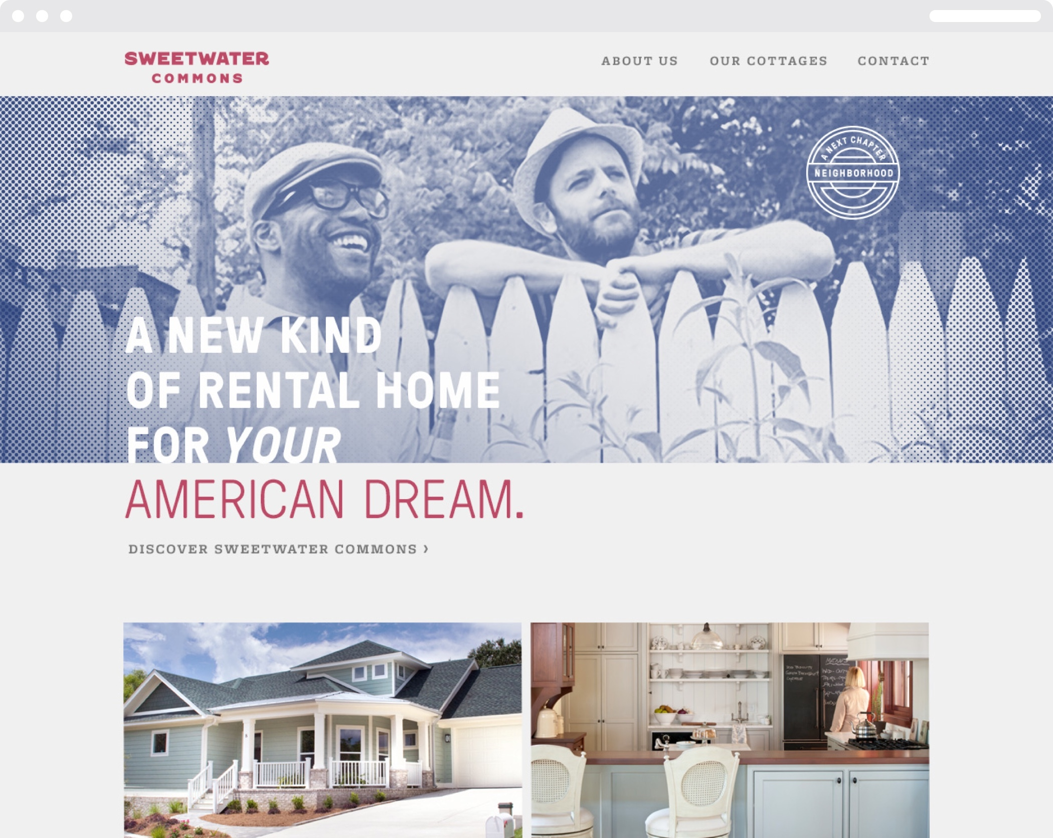 "Web homepage for Sweetwater Commons, ""A new kind of rental home for your American Dream."" with images of homes and brochures."