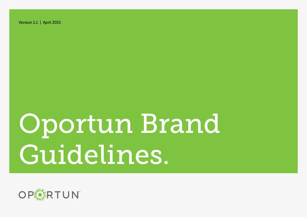 The cover of the Oportun brand guidelines presentation book.