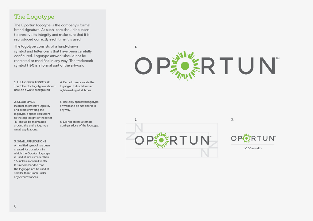 A page from the Oportun brand guidelines book showing examples of the logotype.