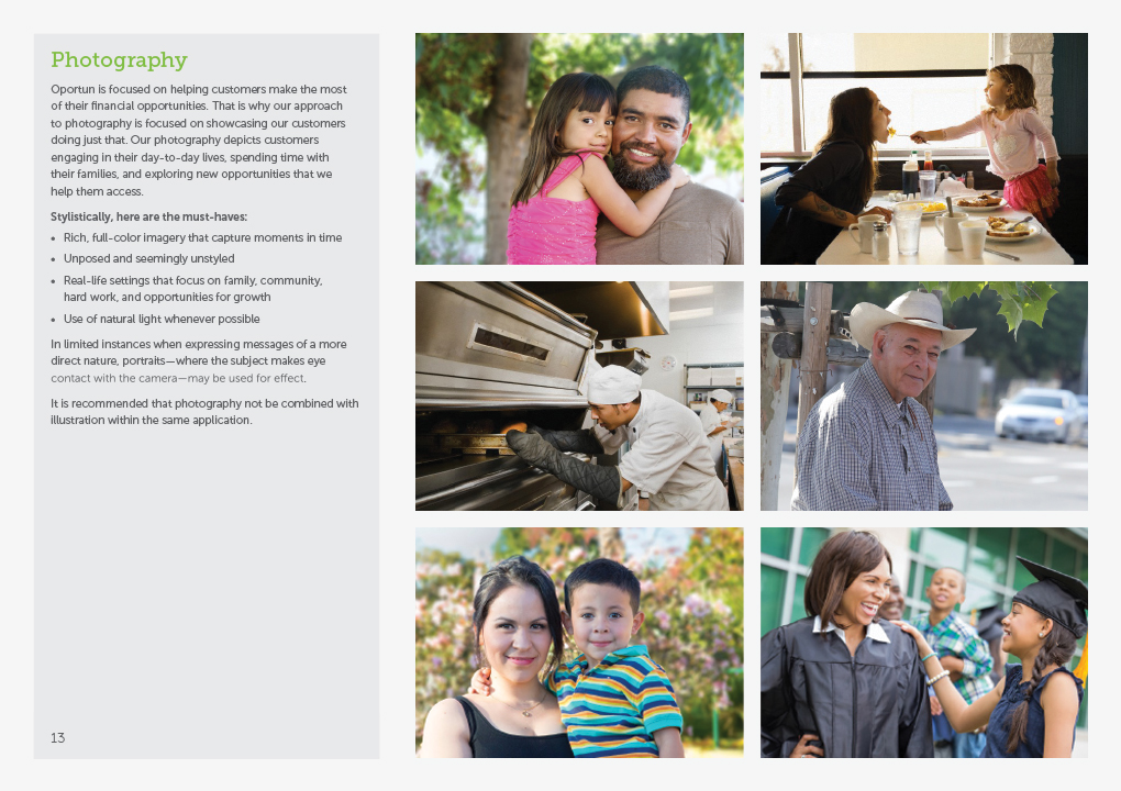 A page from the Oportun brand guidelines book showing examples of the photographic style.
