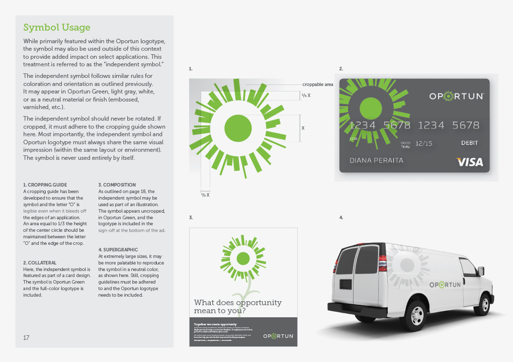 A page from the Oportun brand guidelines book showing how to use and place the green-sun brand symbol.