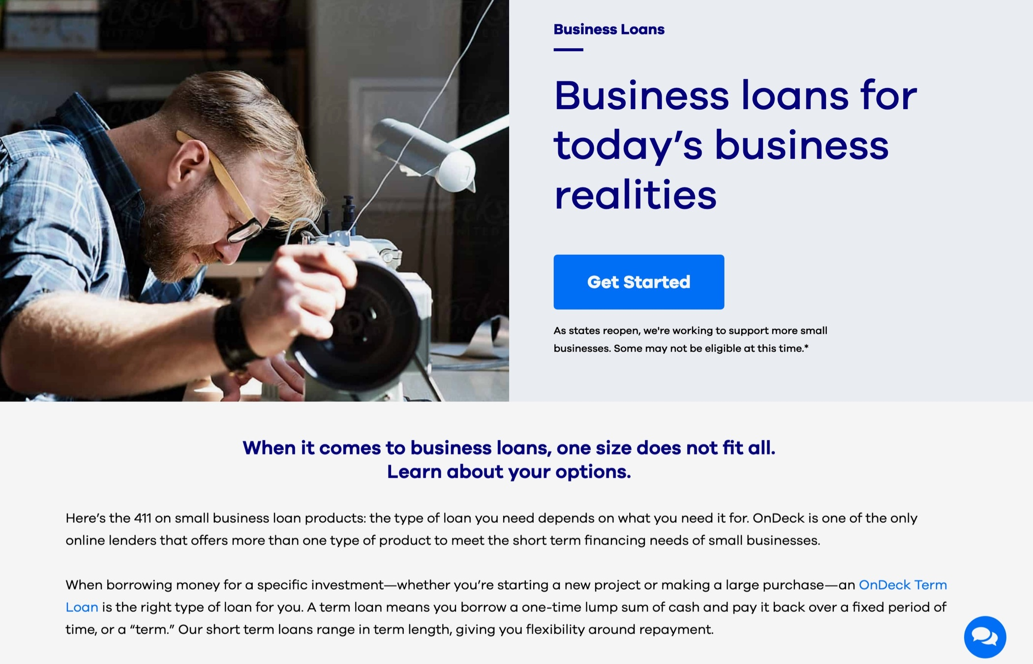 A photo of a small business person at a workbench, with the headline text: Business loans for today's business realities.