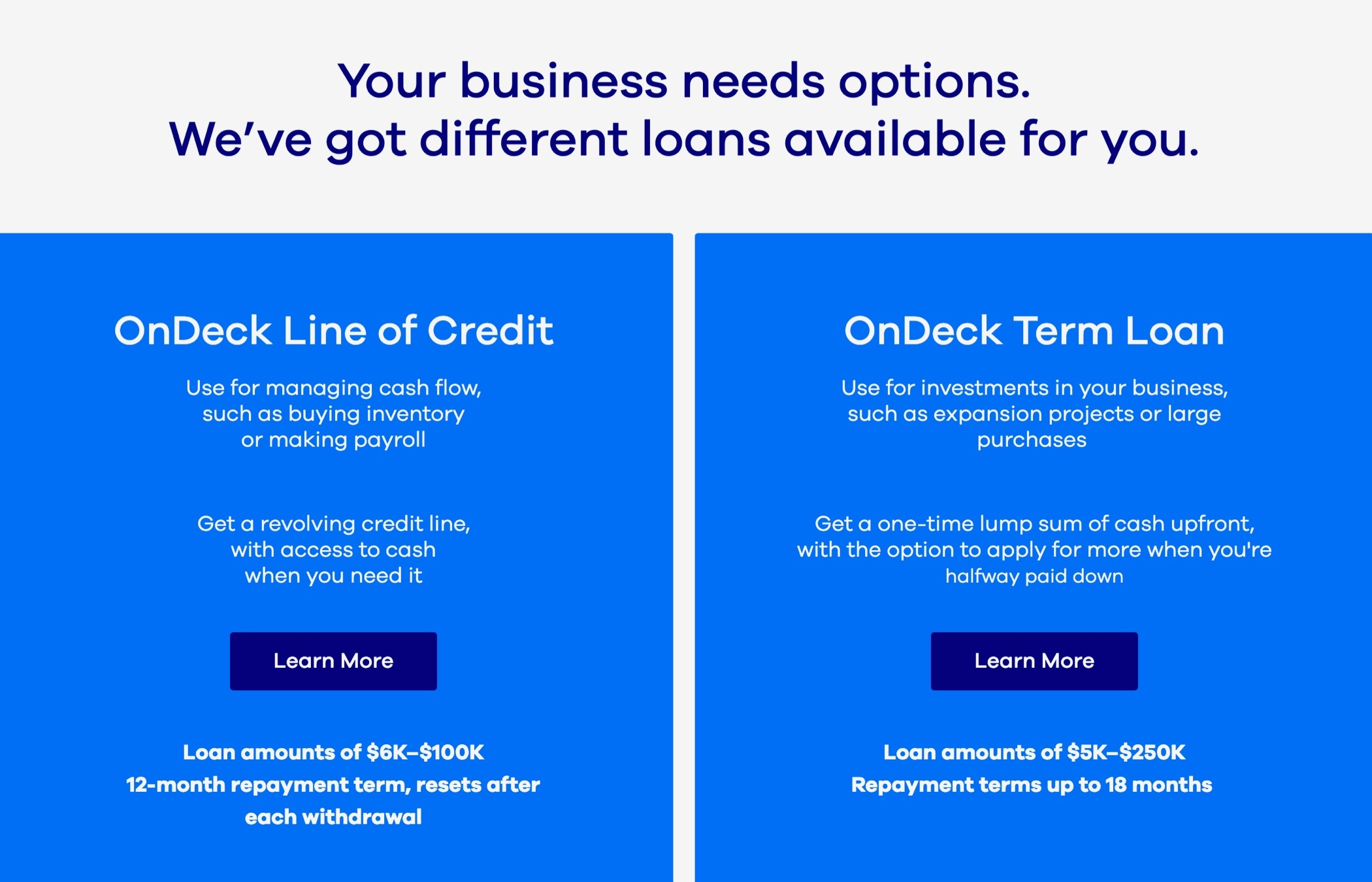 A section of the OnDeck website showing information about lines of credit and term loan options side by side.