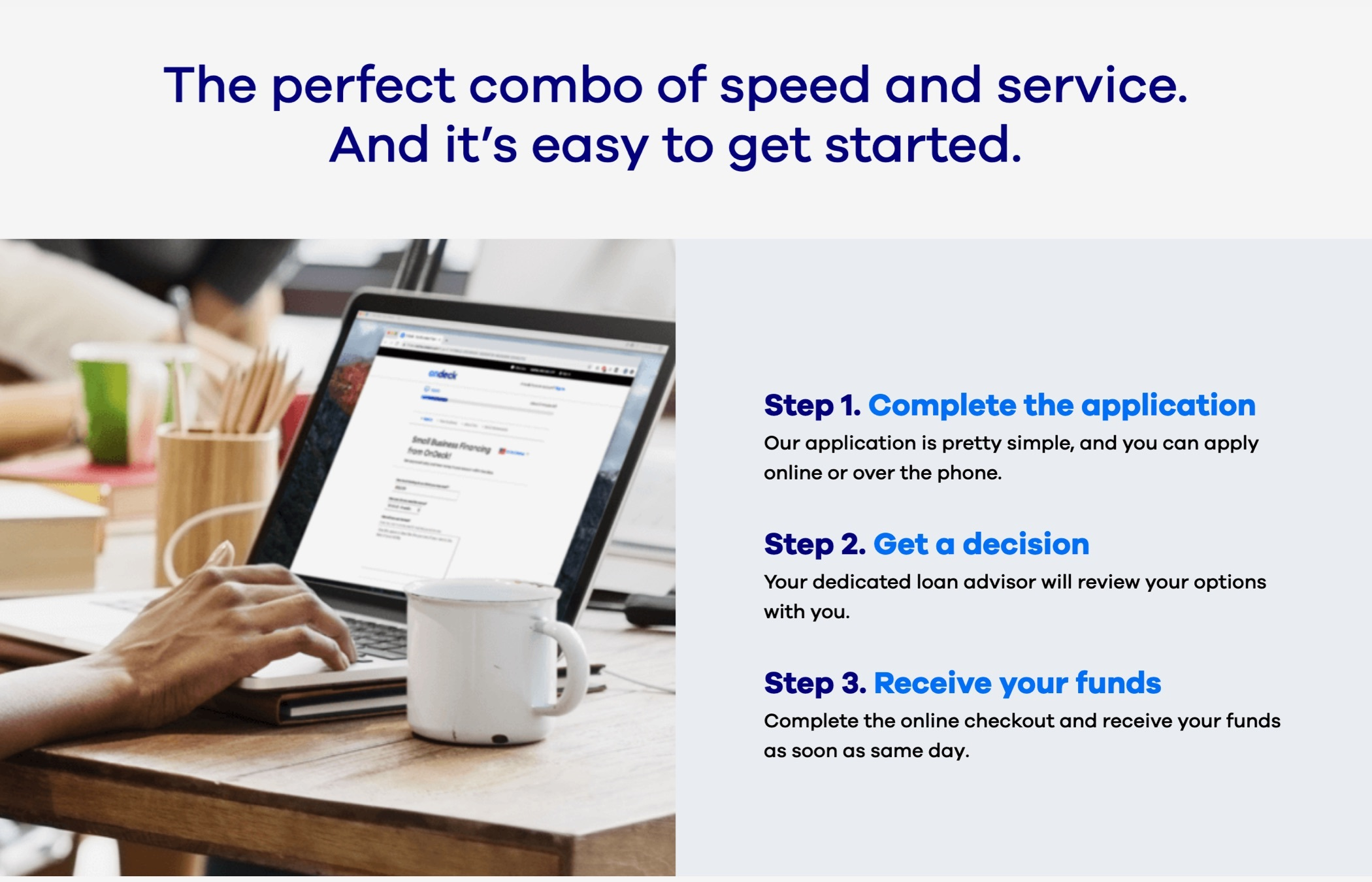 A page from the OnDeck website outlining their three step process: Complete the application; get a decision; receive your funds.