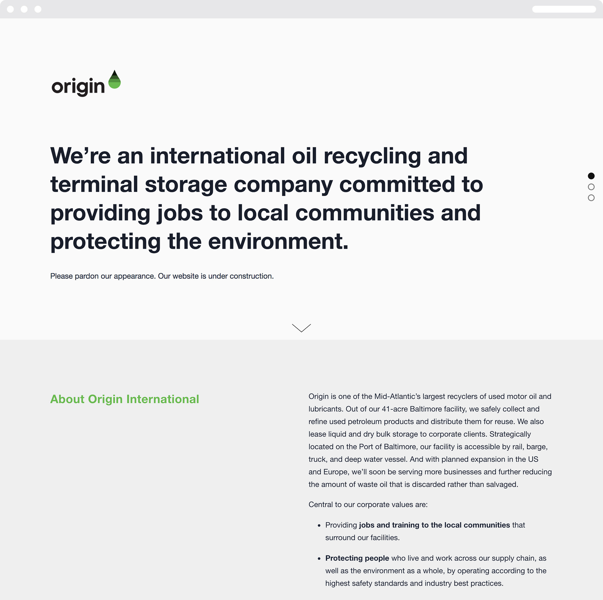 The Origin International web homepages, with its logotype and symbol and black type headline type.