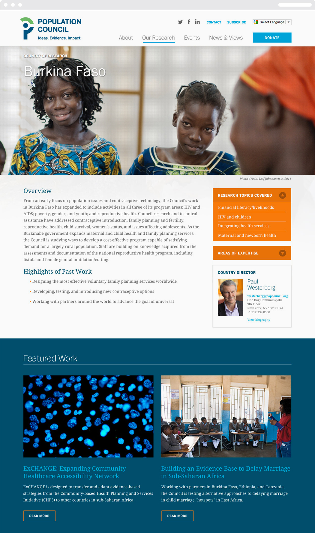 Population Council Burkina Faso country research web page, with an image three young, dark-skinned girls in colorful dress.