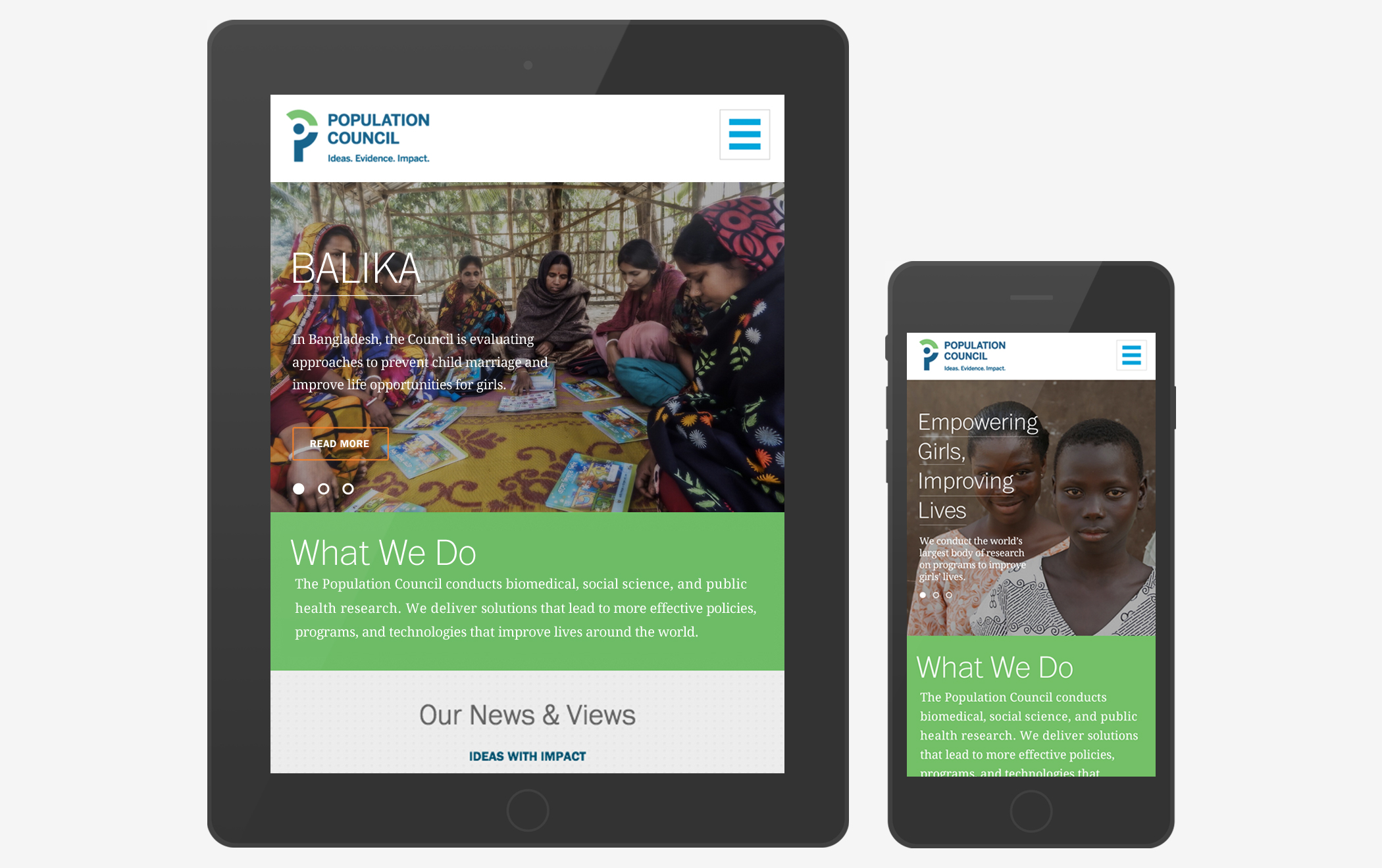Pages from the Population Council website displayed on a digital tablet and smartphone.