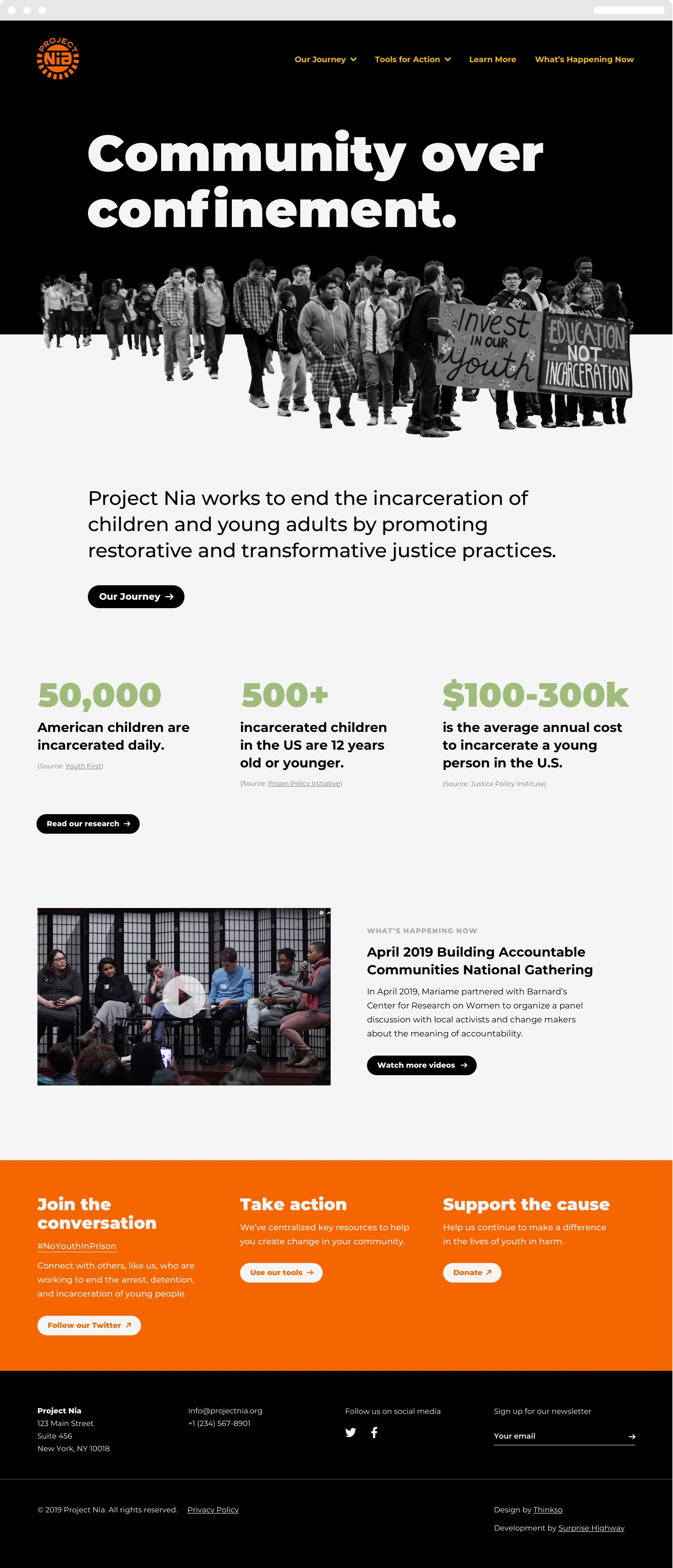 "The Project Nia homepage with the headline ""Community over confinement."" a group of protesters, and statistics on youth incarceration."