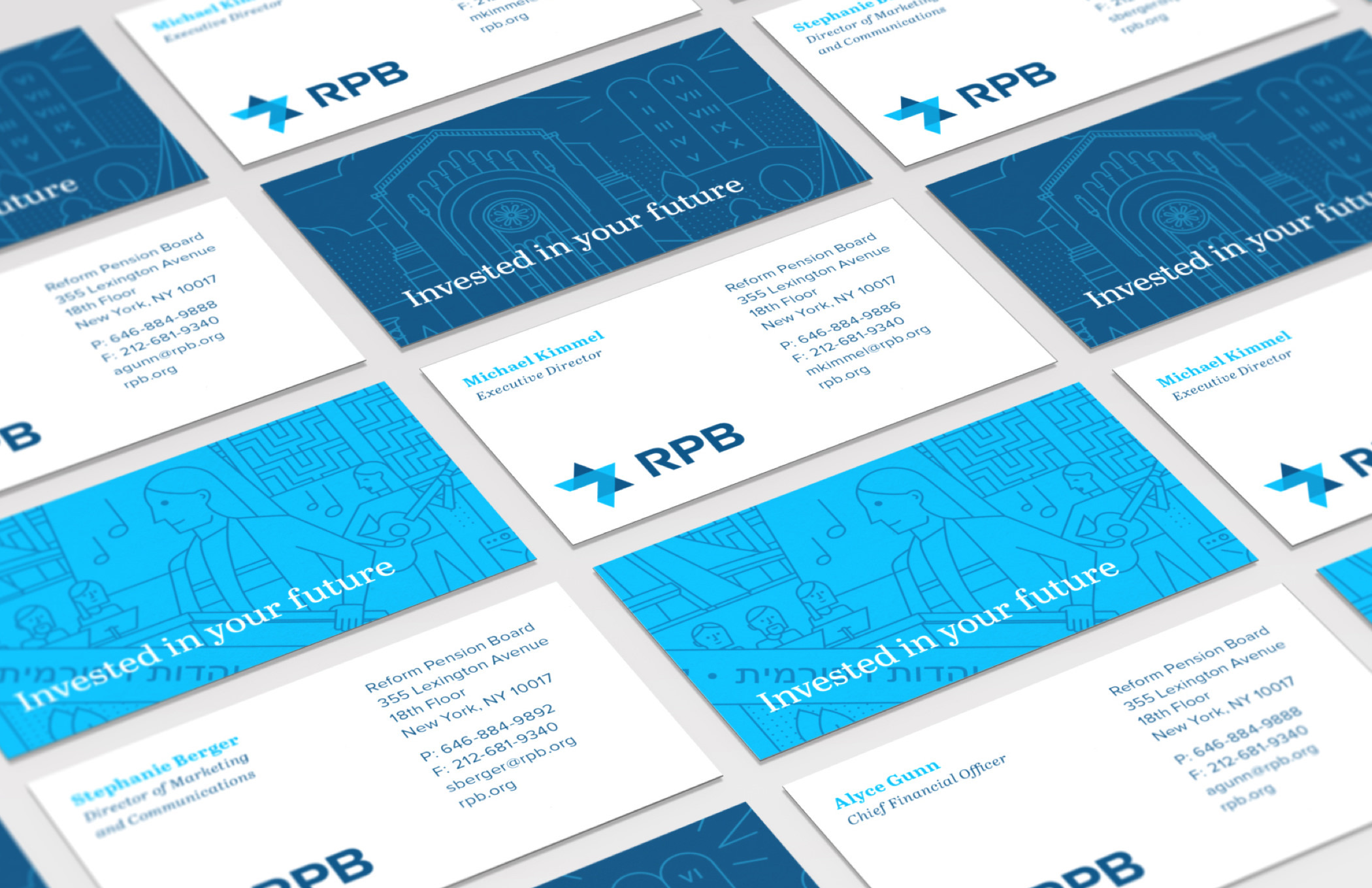 """The front and back of several illustrated RPB business cards with the RPB logo and the phrase """"Invested in your future."""""""