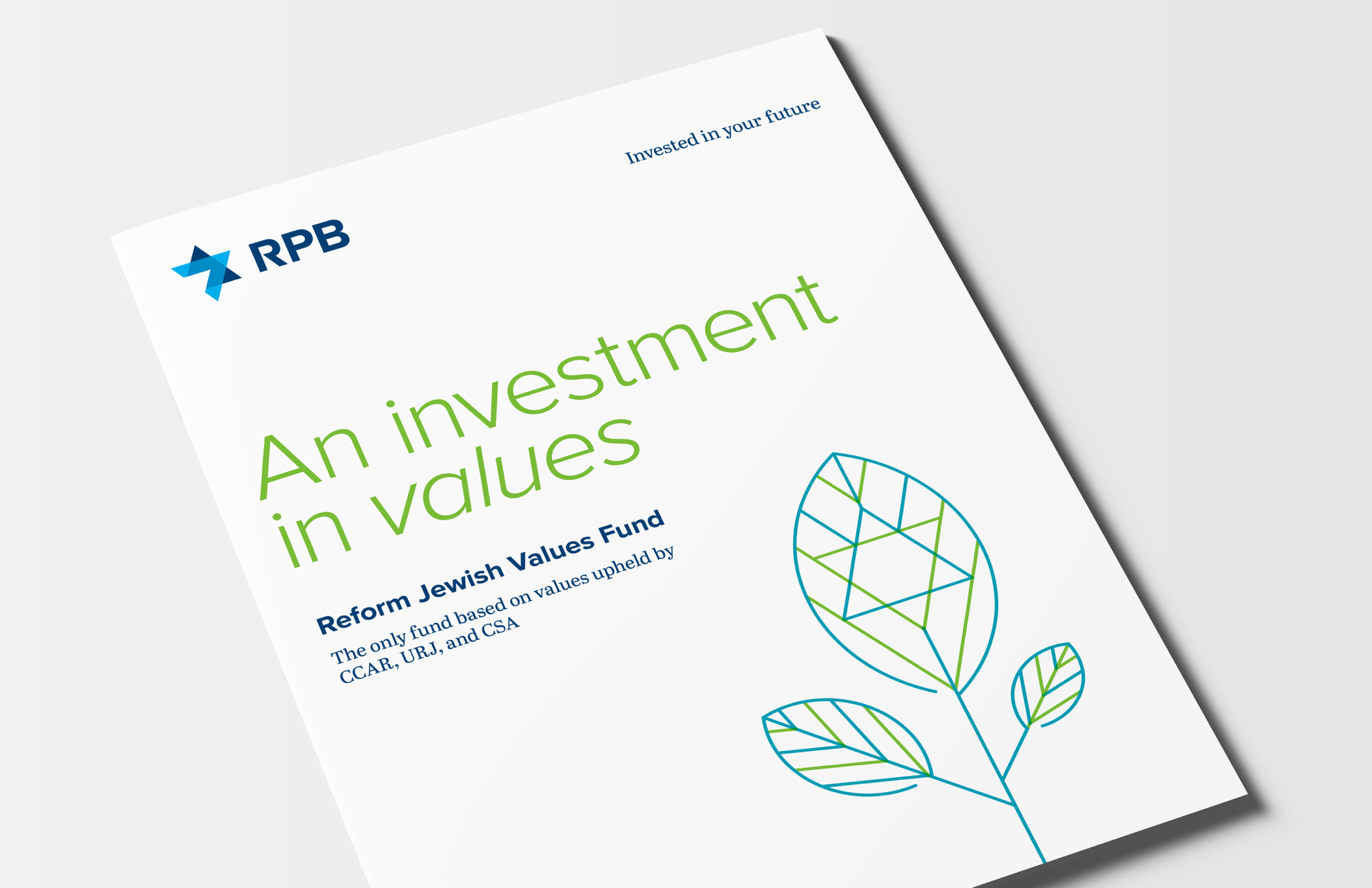"""Illustrated cover of the RPB Reform Jewish Values Fund brochure with the headline """"An investment in values."""""""