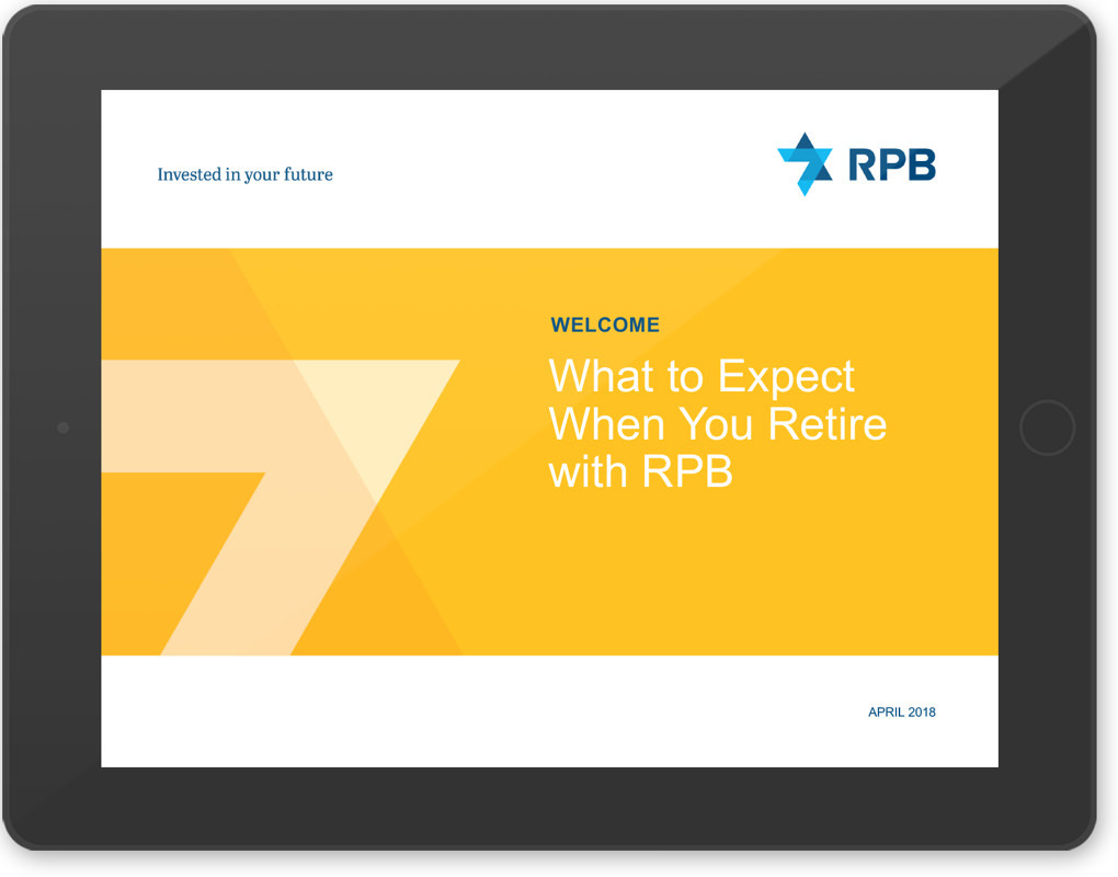 """RPB investor presentation page on a computer tablet with the title """"What to expect when you retire with RPB"""""""