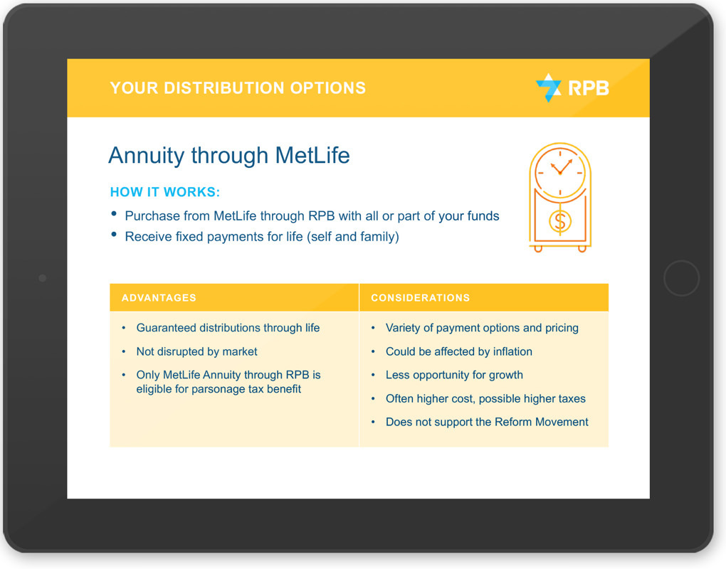 RPB investor presentation page on a computer tablet explaining distributions options, including annuities.