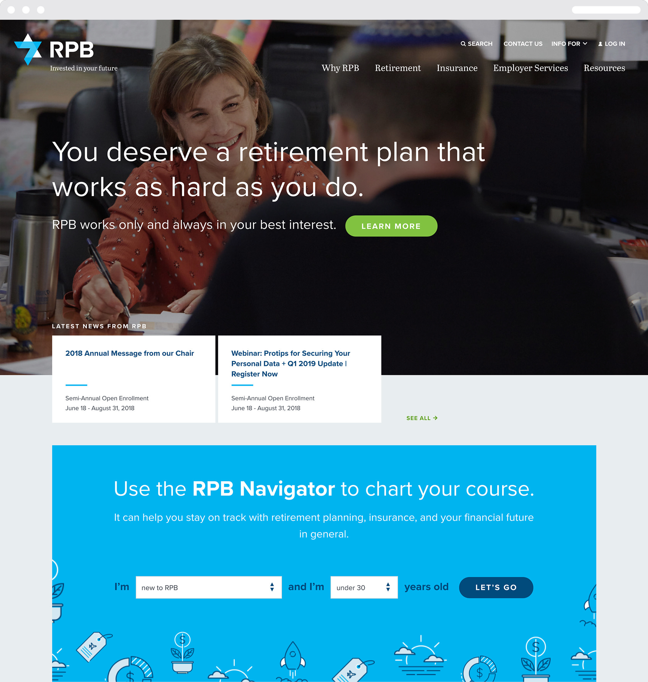 """The RPB homepage featuring two people meeting and the headline """"You deserve a retirement plan that works as hard as you do."""""""
