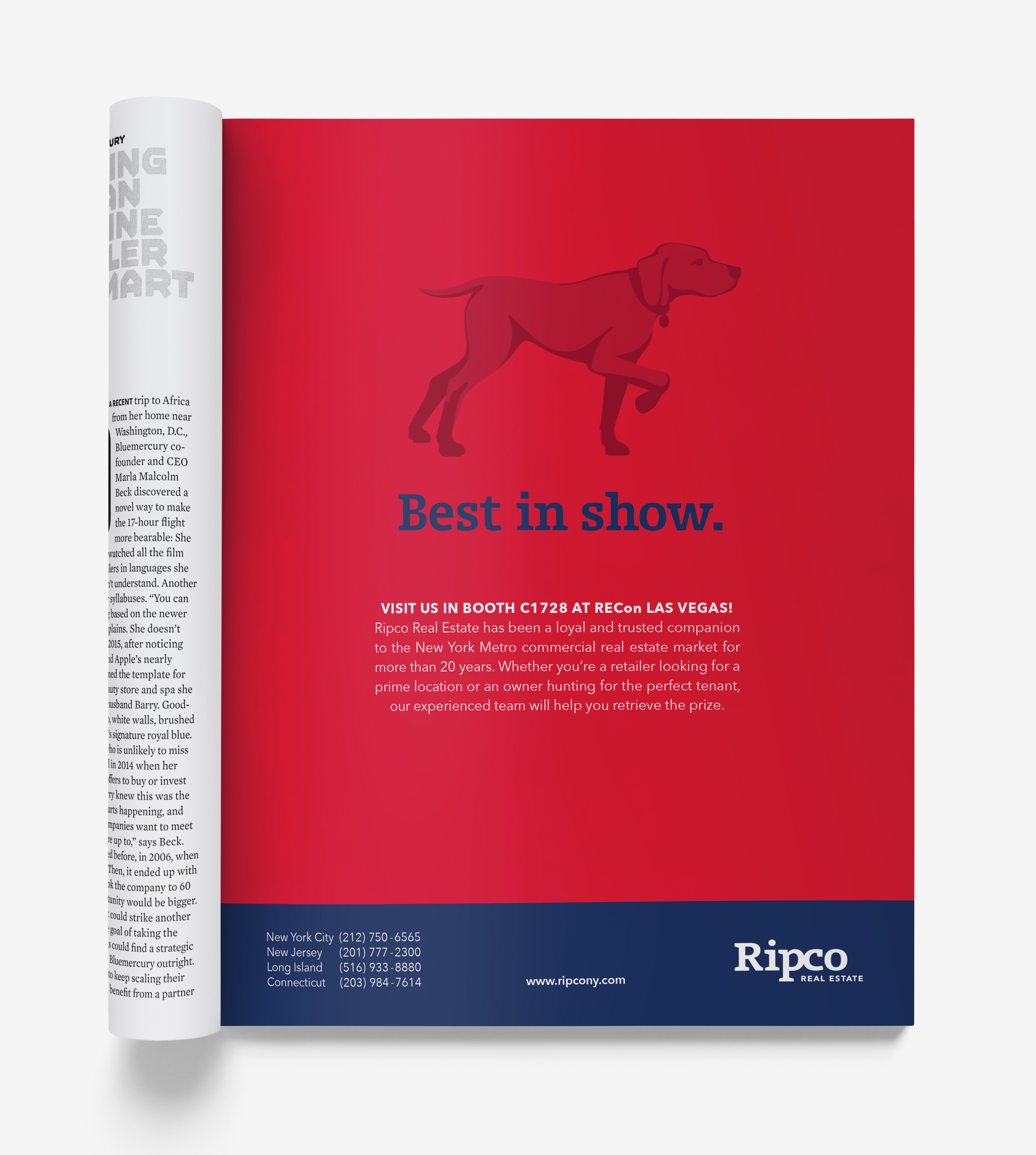 A red, full page Ripco trade magazine ad with the hunting-dog-in-a-pointer-pose brand symbol and the headline, best in show.