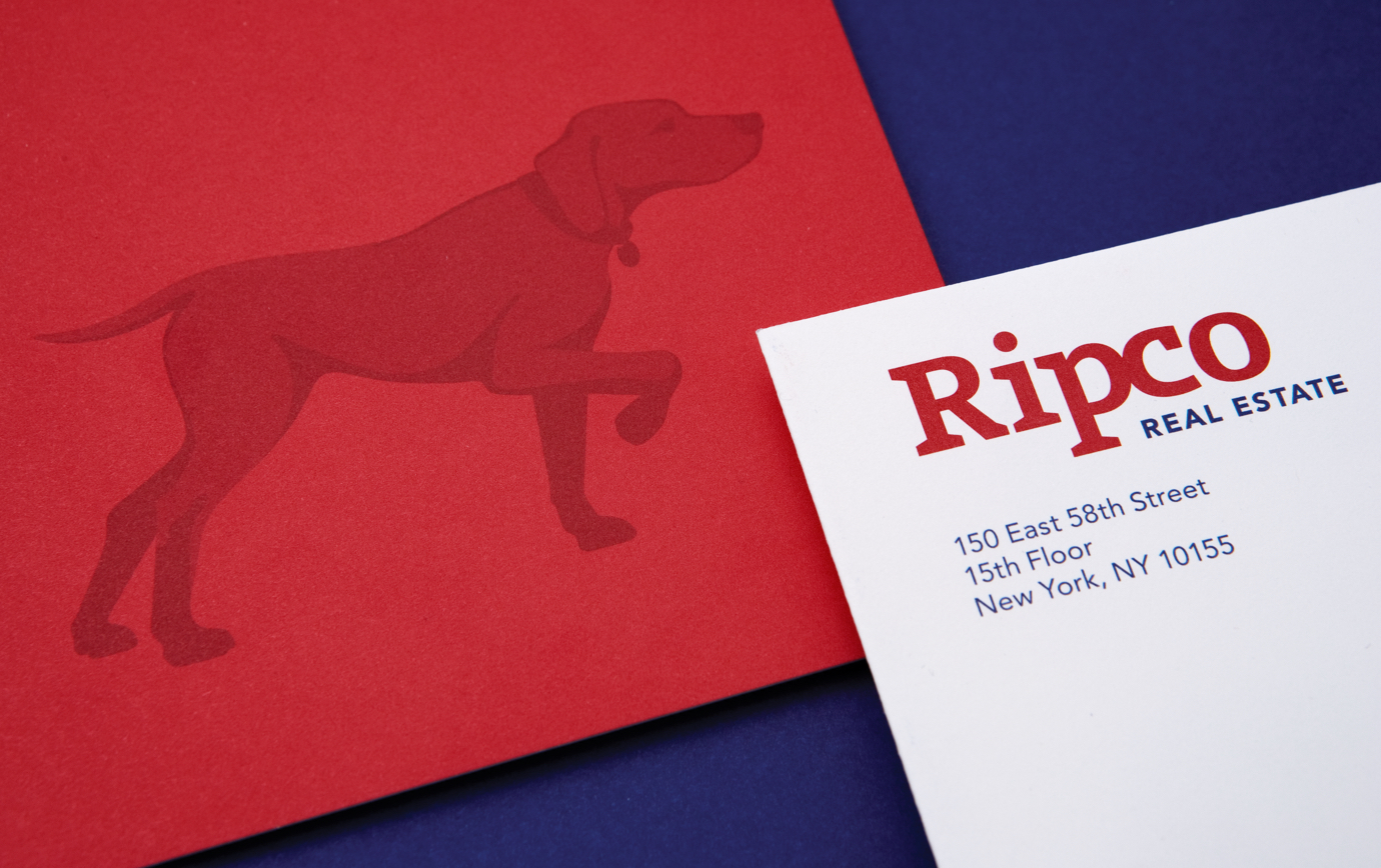The Ripco red logotype and symbol; a hunting dog in a pointer pose.