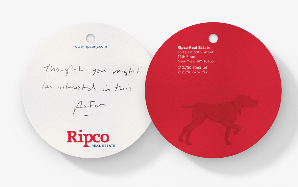 Cover and page from a round Ripco note card, with an handwritten note the hunting-dog-in-a-pointer-pose brand symbol.