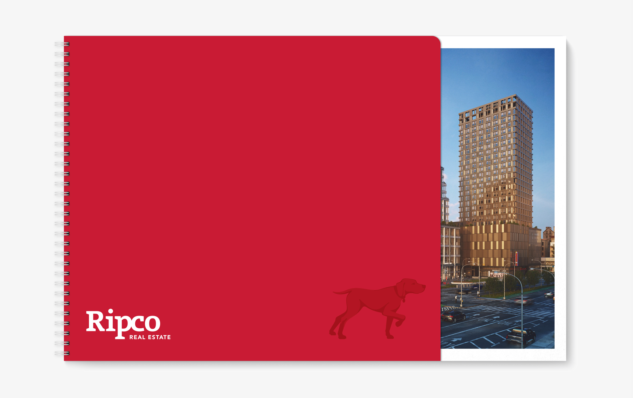 The distinctive red cover of a Ripco presentation book with the brand logo and symbol and a photo of a high rise building.