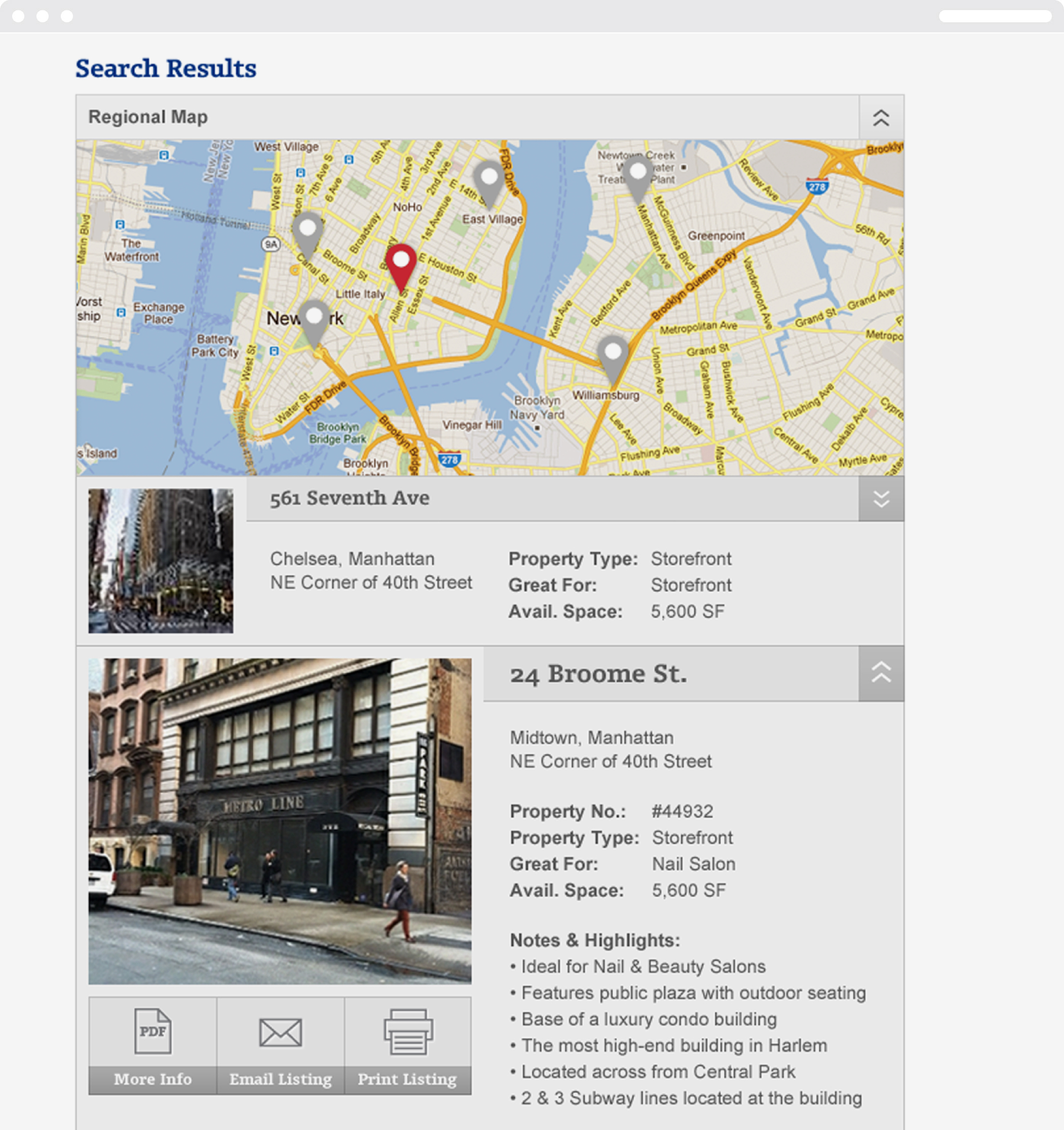 A search results page on the Ripco website with map pins and property description for 561 7th Avenue and 24 Broome Street.