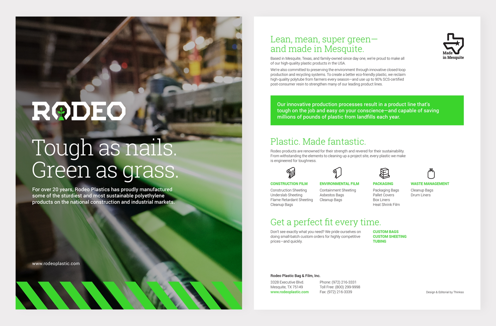"""Pages of a Rodeo Plastics brochure with the title 'Tough as nails, green as grass"""" and product information."""