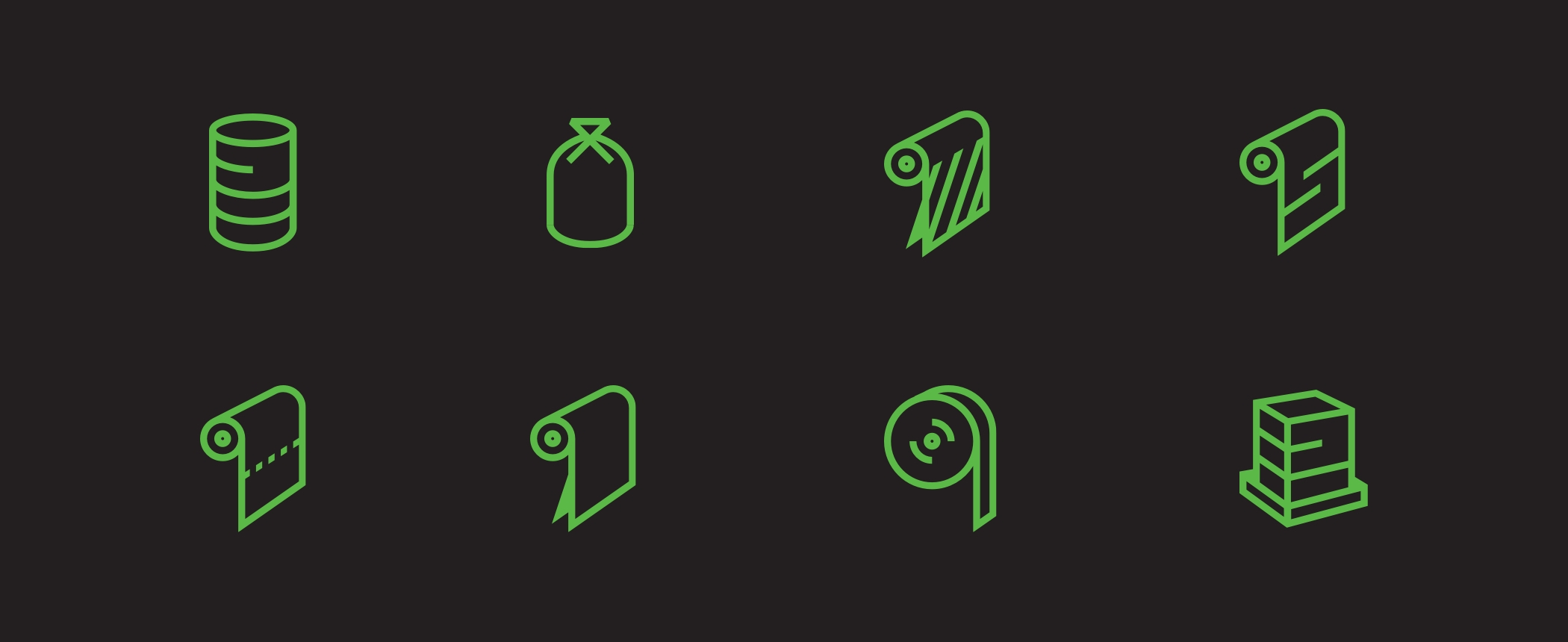 Eight illustrated icons drawn with green lines depicting the different types of Rodeo Plastics products.