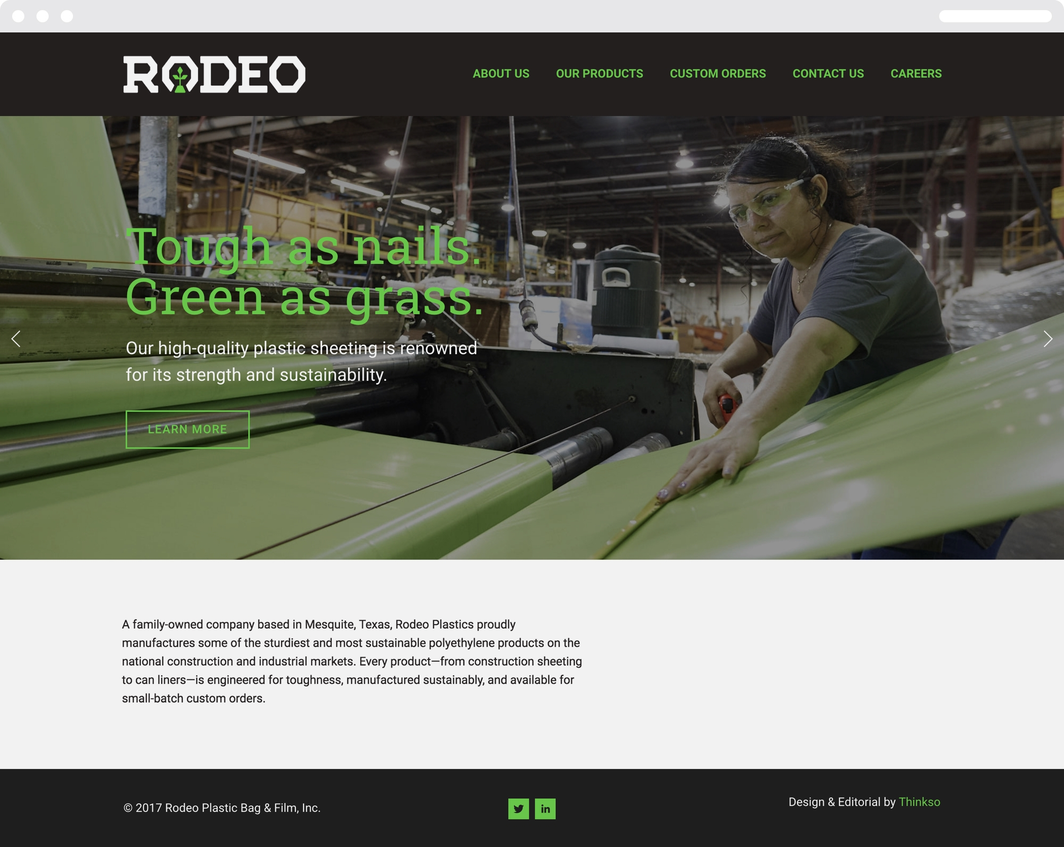 """The Rodeo Plastics Wed homepage with the company logo and headline """"Tough as nails, green as grass."""""""