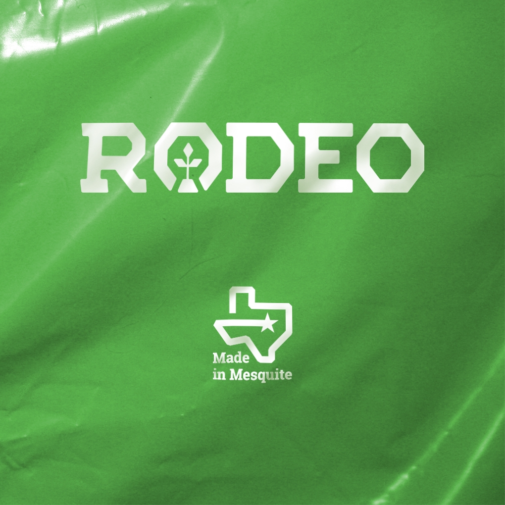"""The Rodeo Plastics logotype and the tagline """"Made in Mesquite"""" imprinted on a sheet of green plastic."""