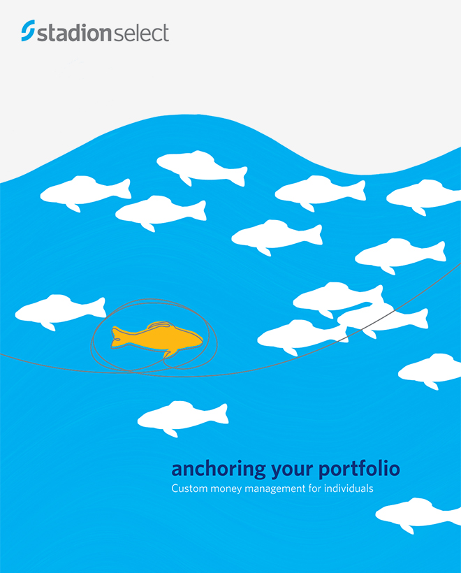 "Stadion Select brochure cover with a school of fish illustration and the title, ""Anchoring your portfolio."""