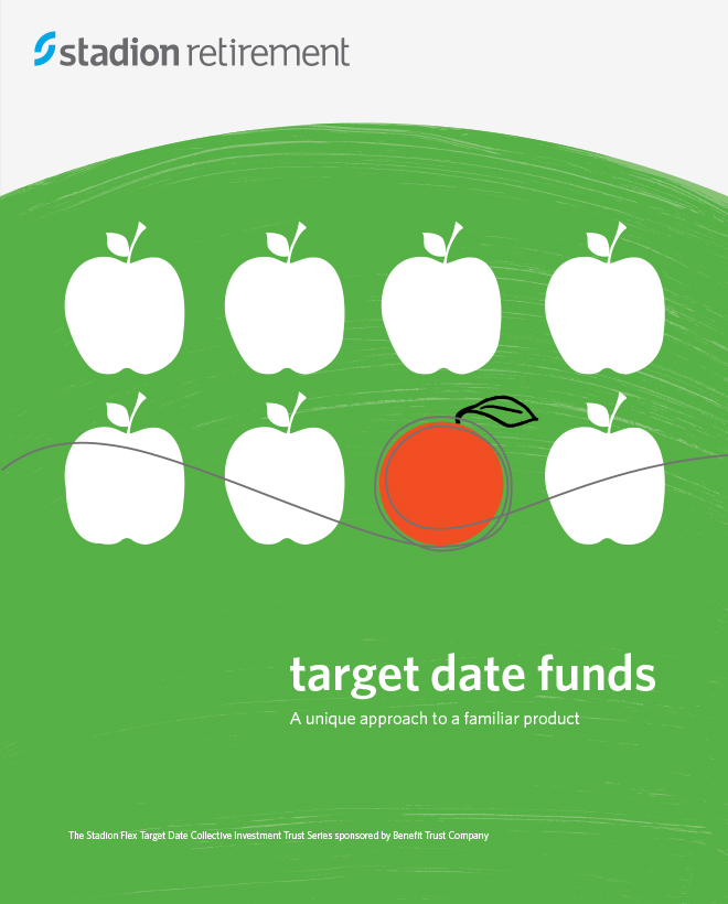 "Stadion Retirement brochure cover with an apples and oranges illustration and the tite, ""Target date funds."