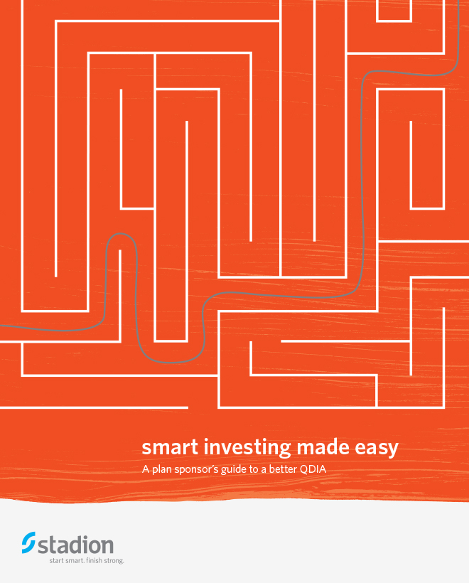 "Stadion brochure cover with a maze illustration and the title, ""smart investing made easy."""