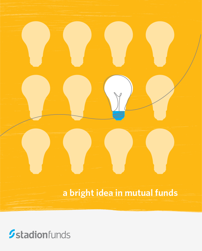 "Stadion Funds brochure cover with a grid of light bulbs illustration and the title, ""A bright idea in mutual funds."""